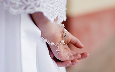 Heirloom Pearl and Silver First Communion Confirmation Jewelry for Girls.