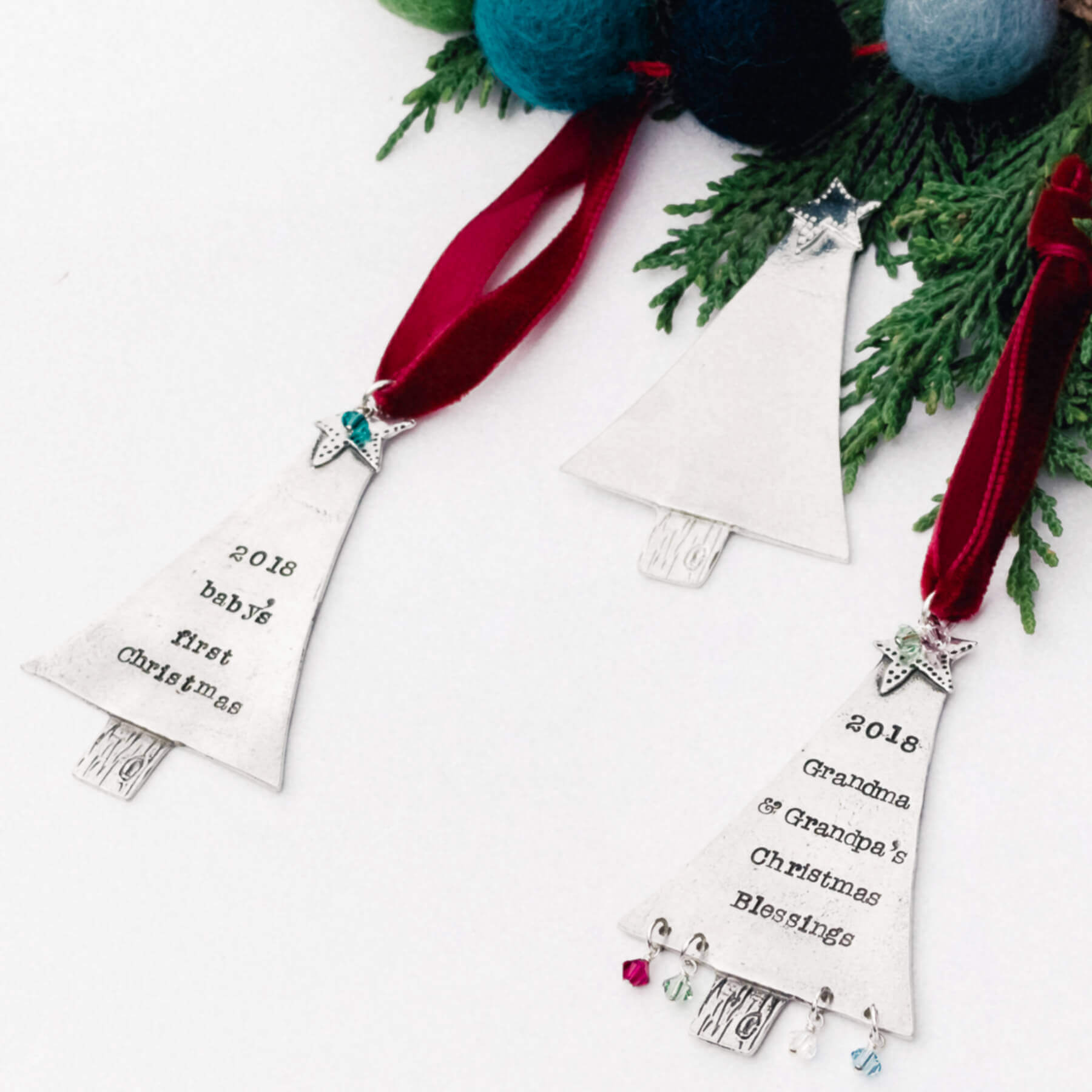 Personalized baby and grandparent Christmas tree keepsake ornaments.