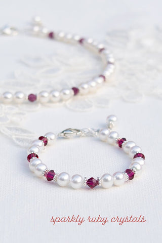 darling pearl and crystal ruby bracelet for girls.