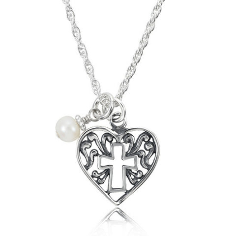 Girl's Easter cross and heart necklace in sterling silver with a pearl.