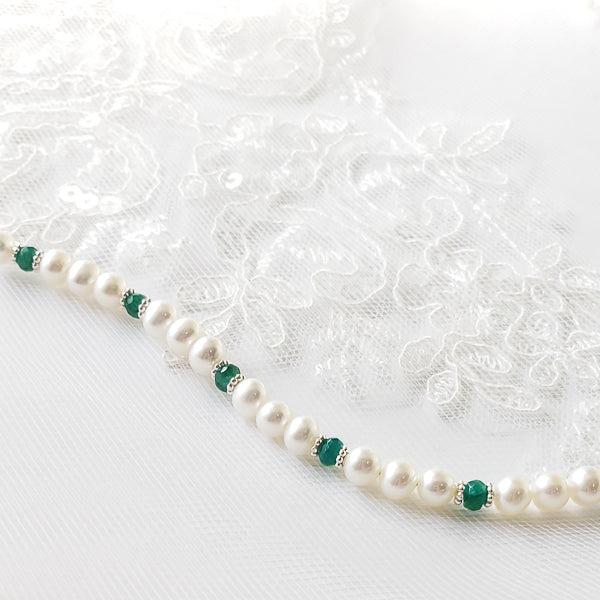 emerald and pearl adorable bracelet for girls