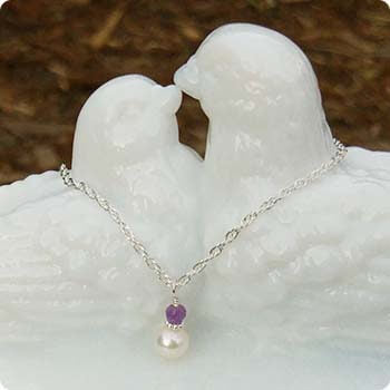 February Amethyst and Pearl Necklace