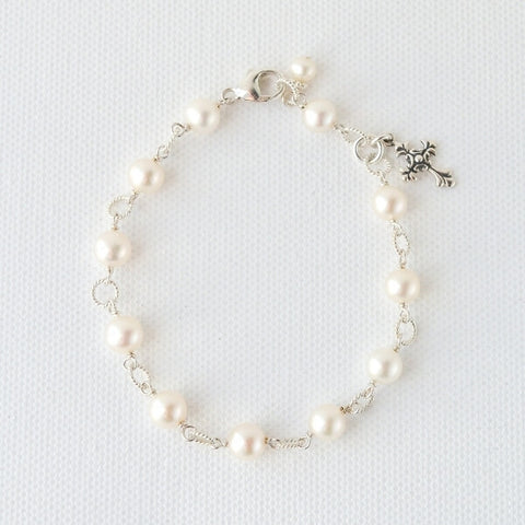 Pearl rosary bracelet with cross for First Communion