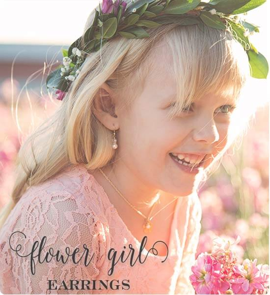 Flower Girl Earrings - Perfect flower girl gifts by Little Girl's Pearls. ♥