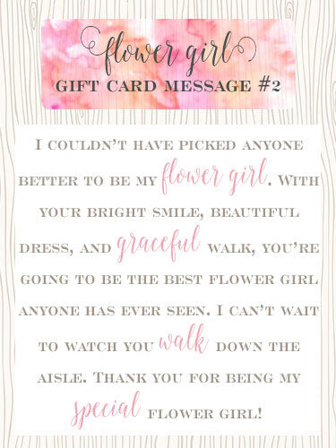 Flower Girl Gift Card Message Idea #2 - I couldn't have picked anyone better to be my flower girl. With your bright smile, beautiful dress, and graceful walk, you're going to be the best flower girl anyone has ever seen. I can't wait to watch you walk down the aisle. Thank you for being my special flower girl! | Little Girl's Pearls