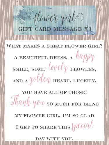 Flower Girl Gift Card Message Idea #3 - What makes a great flower girl? A beautiful dress, a happy smile, some lovely flowers, and a golden heart. Luckily, you have all of those! Thank you so much for being my flower girl. I'm so glad I get to share this special day with you. | Little Girl's Pearls