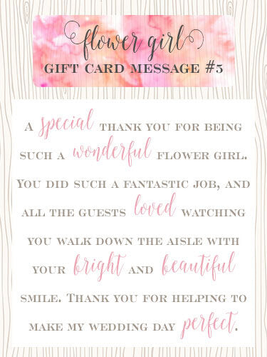 Flower Girl Gift Card Message Idea #5 - A special thank you for being such a wonderful flower girl. You did such a fantastic job, and all the guests loved watching you walk down the aisle with your bright and beautiful smile. Thank you for helping to make my wedding day perfect. | Little Girl's Pearls