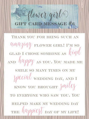 Flower Girl Gift Card Message Idea #6 - Thank you for being such an amazing flower girl! I'm so glad I chose someone as kind and happy as you. You made me smile so many times on my special wedding day, and I know you brought smiles to everyone who saw you. You helped make my wedding day the happiest day of my life! | Little Girl's Pearls