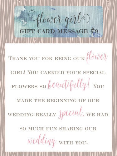 Flower Girl Gift Card Message Idea #9 - Thank you for being our flower girl! The flowers were beautiful, but you were the one who made the beginning of our wedding really special. We had so much fun sharing our wedding with you. | Little Girl's Pearls