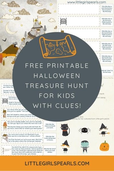Free printable treasure hunt with map and clues for Halloween.