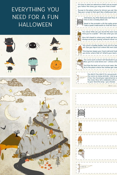 Everything you need for a printable Halloween Treasure Hunt.