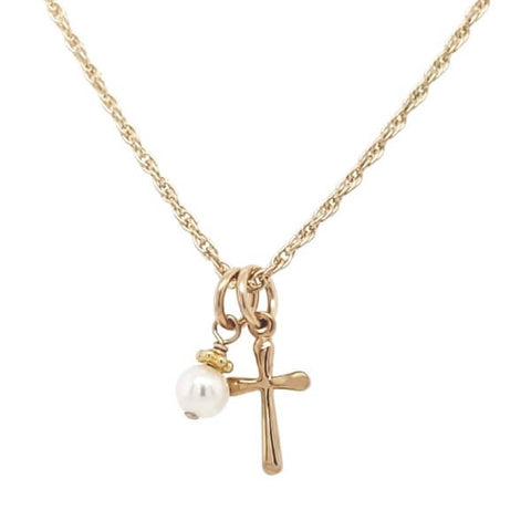 Gold Cross Easter necklace for kids.