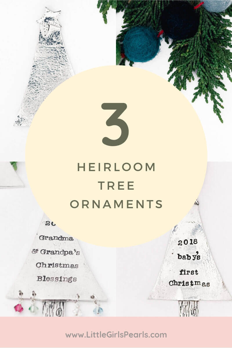 3 heirloom keepsake Christmas tree ornaments for grandparents and baby.