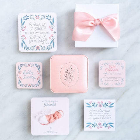 Pretty gift packaging - pink jewelry box, white gift box with pink box, floral cards.