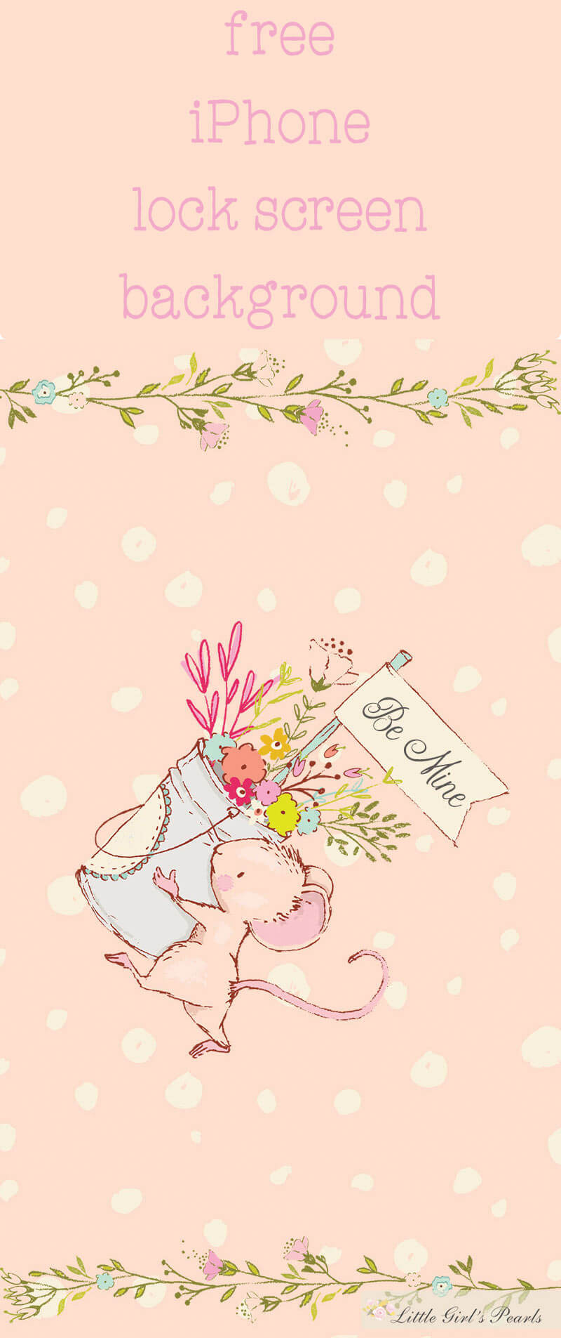 Be Mine Floral Mouse Phone Wallpaper Little Girl S Pearls