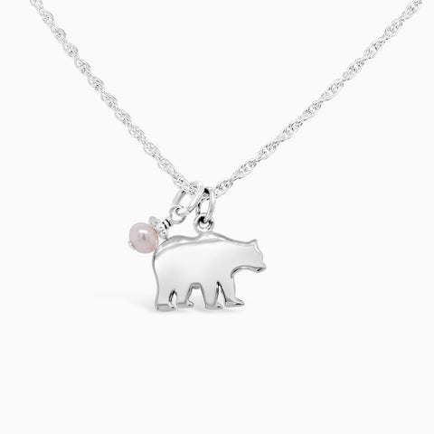 mama bear necklace in sterling silver with a pearl.