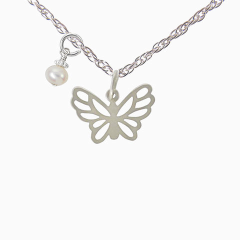 butterfly necklace in sterling silver with a pearl.