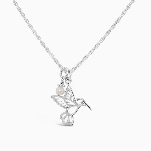 Mama hummingbird necklace in sterling silver with a pearl.