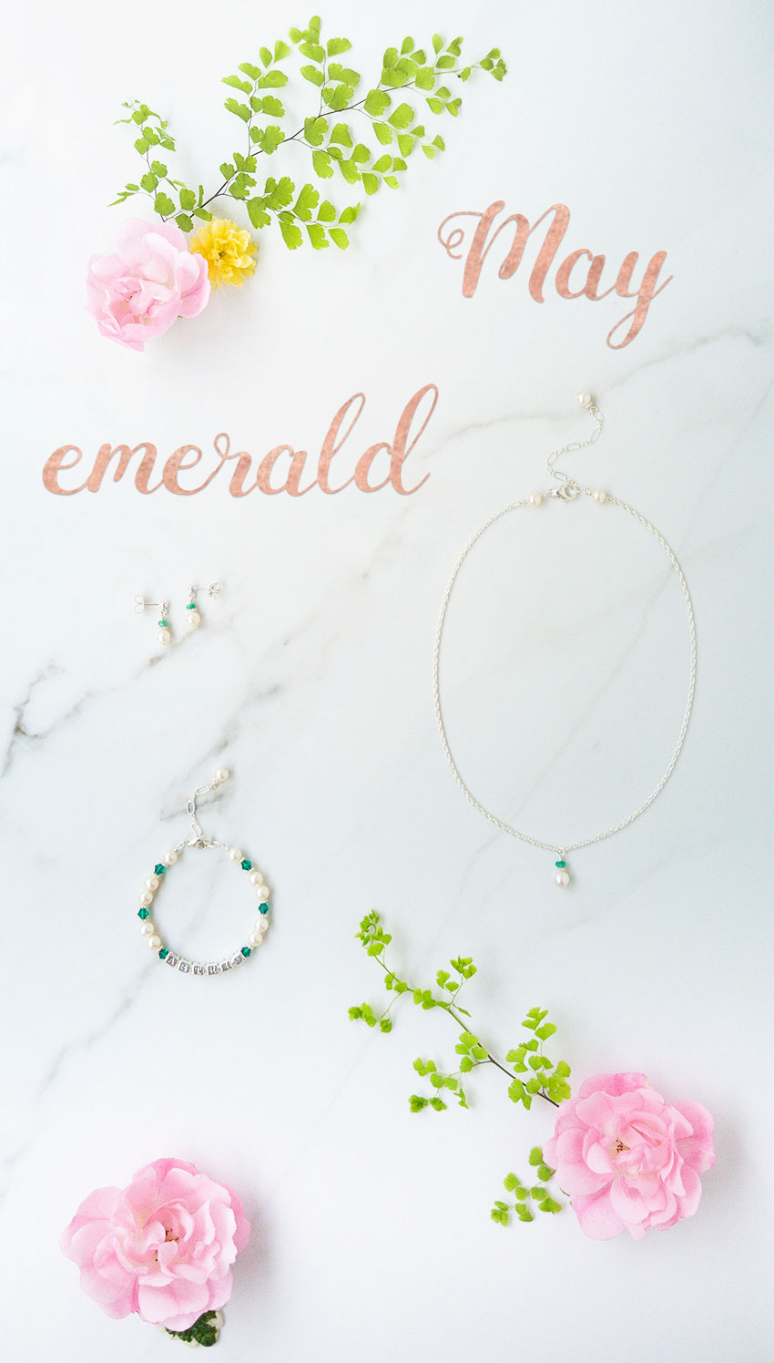 May's birthstone jewelry - emerald mixed with pearls and pink roses.