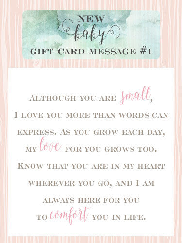 What to write in a gift card! Read this blog post for 10 sweet messages to put in your gift cards for new parents. You picked the perfect gift, let me help with card. <3 /blogs/articles/new-baby-girl-gift-card-message-ideas/ #littlegirlspearls #giftcard #babyshower