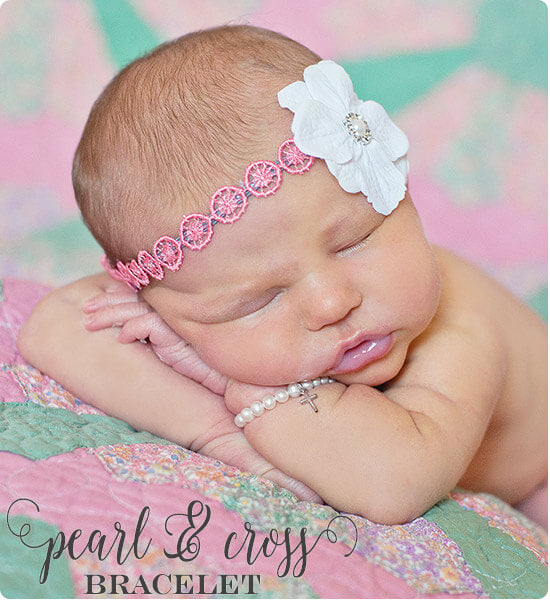 Pearl & Cross Bracelet for her new baby gift. Such a sweet baby shower Christian gift!