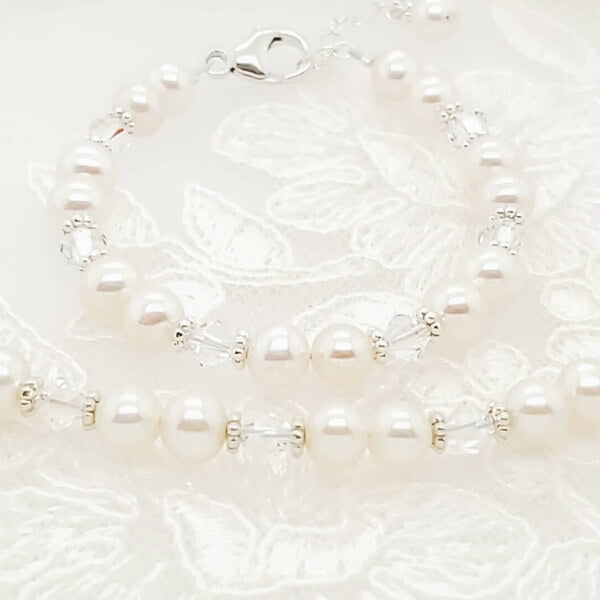 pearl, April birthstone crystal, sterling silver fine bracelets and necklaces.