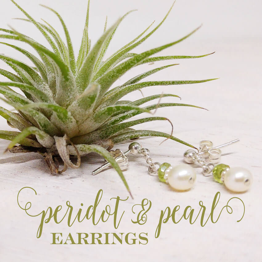 Gorgeous pearl and peridot birthstone post earrings for her August birthday! | Little Girl's Pearls ♥