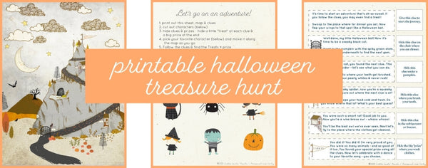 Free printable Halloween Treasure Hunt with Clues from Little Girl's Pearls.