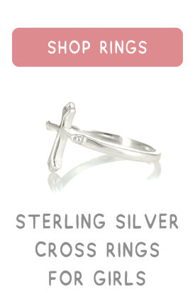 Sterling Silver Cross ring sized for girls.