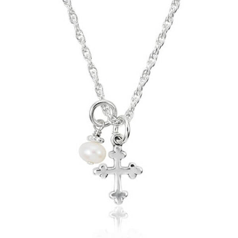 My keepsake cross Easter necklace for girls in sterling silver with a pearl.