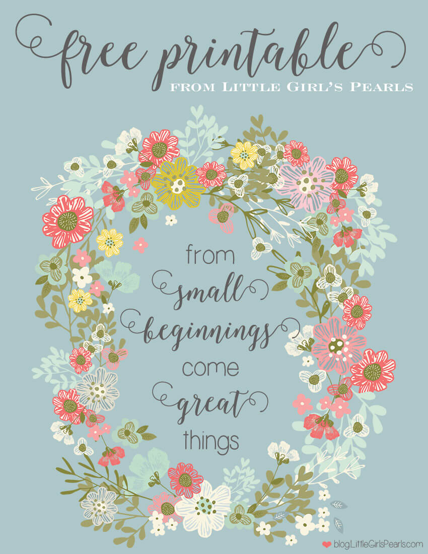 As you hold your sweet baby girl, and marvel over her tiny little toes, you imagine her all her possible futures. The one thing you know, is that she'll be amazing at whatever she puts her hand to. Celebrate her small beginnings with this precious free printable for her nursery. Click here: https://shop-littlegirlspearls.myshopify.com/blogs/articles/from-small-beginnings-come-great-things-free-printable/ | Little Girl's Pearls ♥ #littlegirlspearls #freeprintable #nursery