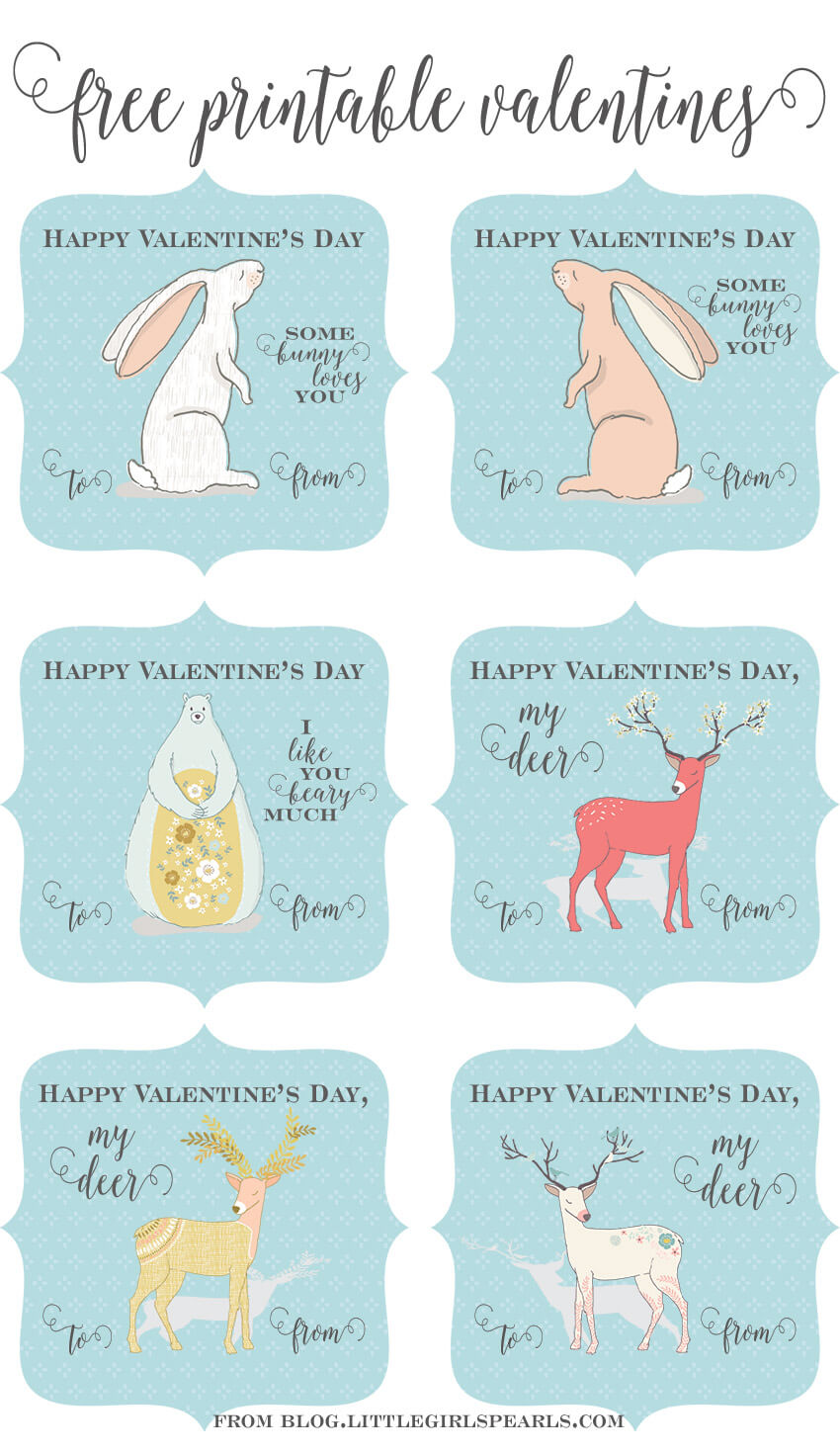 Free Forest Friends Printable Valentines