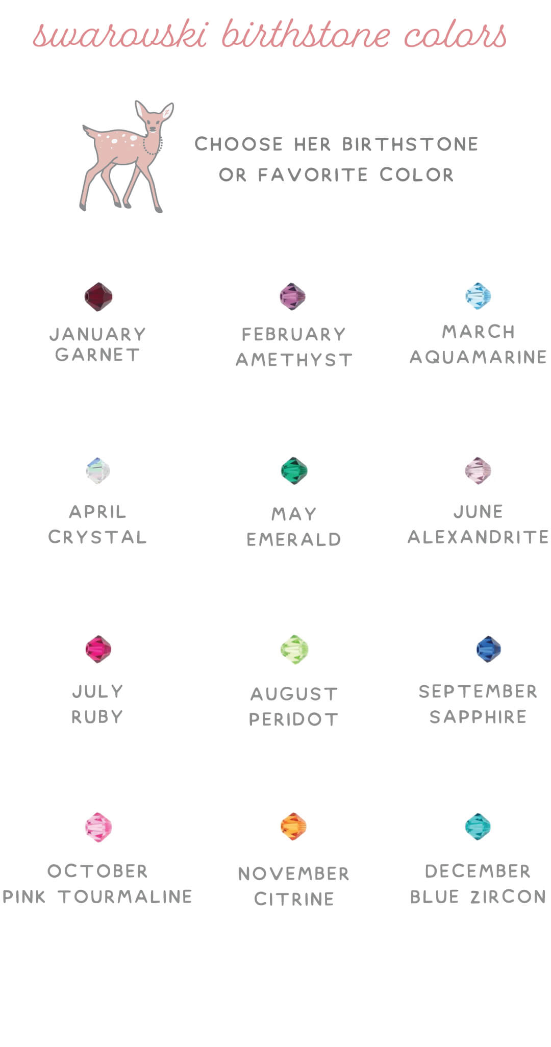 Swarovski Birthstone Crystal Color Chart.