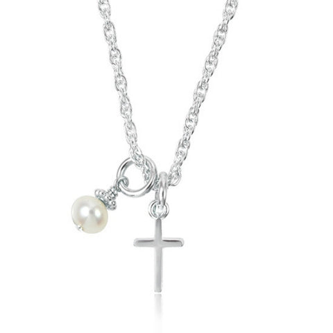 Dainty Silver Cross Necklace with a Pearl for Girls.