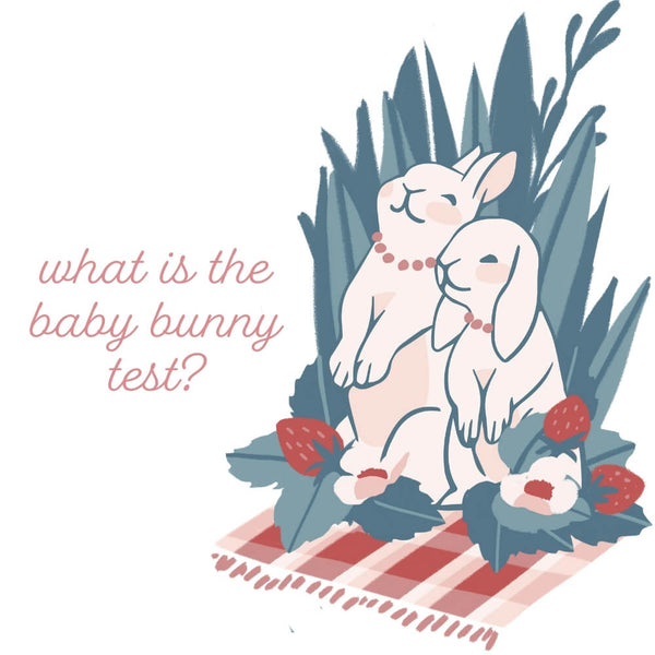 mama and baby bunny sitting on a gingham blanket having a picnic. The Baby Bunny Test.