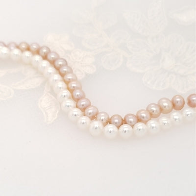 pink and white pearls - color comparison.