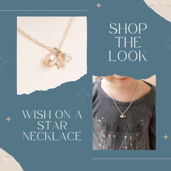Wish on a star necklace for girls.