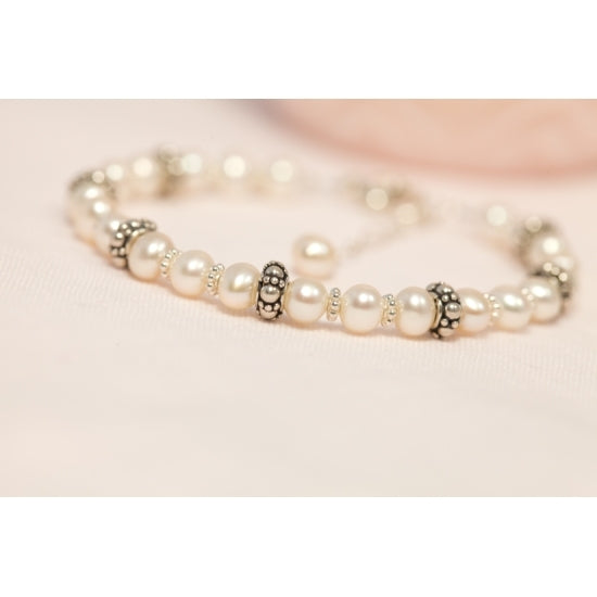 Elegant Pearl and Sterling Silver Bracelet - Little Girl's Pearls
