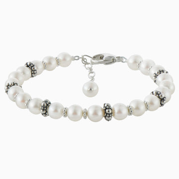 Elegant Pearl and Sterling Silver Bracelet