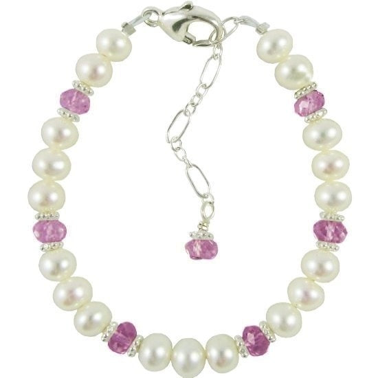 Adorable Pearl and Birthstone Bracelet - Little Girl's Pearls