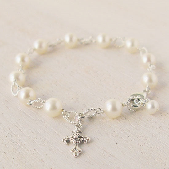 Beautiful First Holy Communion Pearl Rosary Bracelet - Little Girl's Pearls
