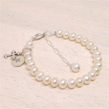 Personalized Baby Baptism Bracelet - Little Girl's Pearls