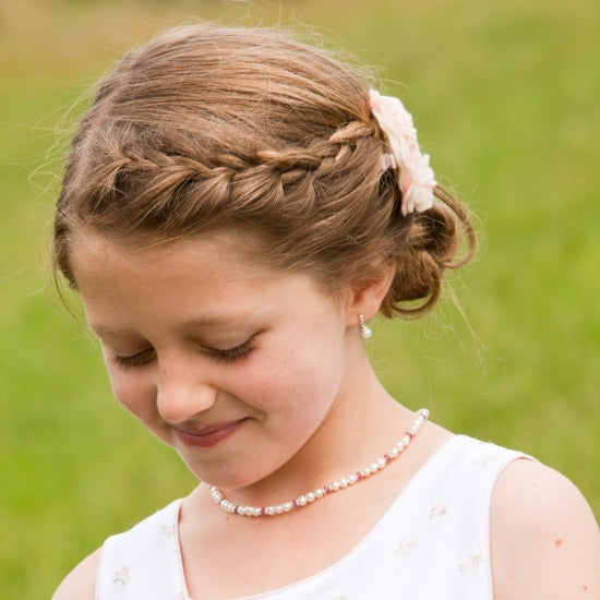 Adorable Pearl and Birthstone Necklace - Little Girl's Pearls