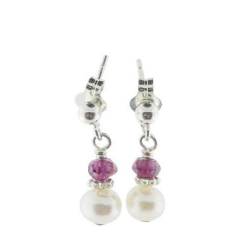 Adorable Pearl and Birthstone Dangle Post Earrings - Little Girl's Pearls