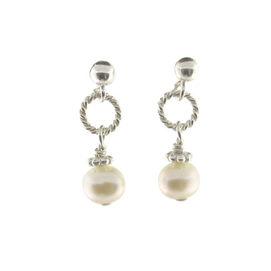 Beautiful Pearl Dangle Post Earrings - Little Girl's Pearls