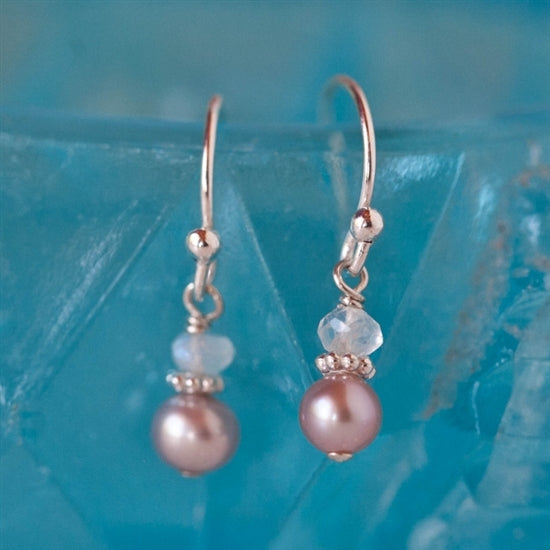 Adorable Pearl and Birthstone French Hook Earrings - Little Girl's Pearls