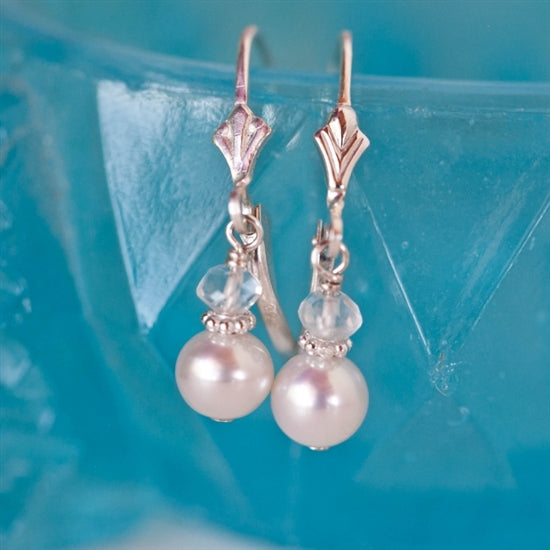 Adorable Pearl and Birthstone Lever Back Earrings - Little Girl's Pearls