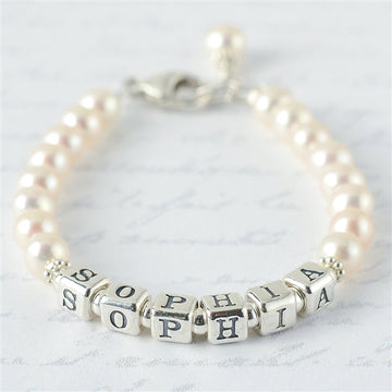 Sweet Pearl Name Bracelet - Little Girl's Pearls