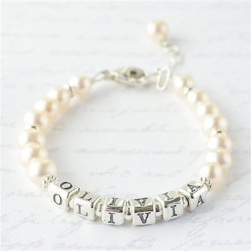 Lovely Pearl Name Bracelet - Little Girl's Pearls