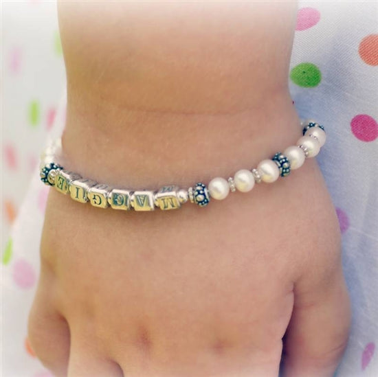 Elegant Pearl Name Bracelet - Little Girl's Pearls
